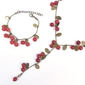 Red Cherry Berry Necklace Long Maxi Coins Beads